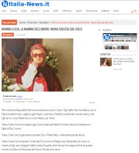 Articolo su Italia-News   Mamma Lucia, La Mamma dell'Amore: Maria discesa dal Cielo