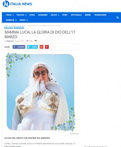 Articolo su Italia-News MAMMA LUCIA, LA GLORIA DI DIO DELL'11 MARZO. LA LUCE DEL CREATO CHE SPLENDE SUL GARGANO.