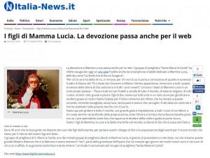 Articolo su Italia-News I Figli di Mamma Lucia. La devozione passa anche per il web