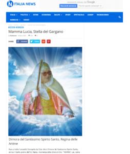 Articolo su Italia-News Mamma Lucia, Stella del Gargano, Dimora del Santissimo Spirito Santo, Regina delle Anime