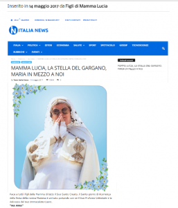 Articolo su Italia-News MAMMA LUCIA, LA STELLA DEL GARGANO, MARIA IN MEZZO A NOI